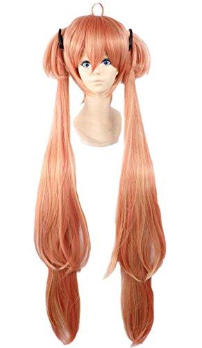 etruke Anime Miku Orange Clip sur queue de cheval droite Cosplay Perruques