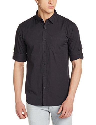 Highlander Men's Casual Shirt (13110001459369_HLSH008869_Small_Dark Grey)  available at amazon for Rs.399