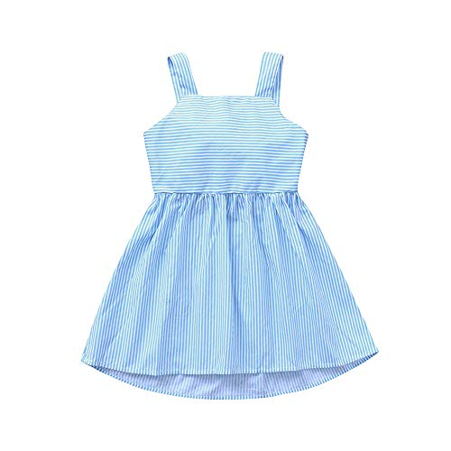JUTOO Neugeborenes Kleinkind Kinder Baby Mädchen Sleeveless Sling Stripes Bowknot Party Princess Dress ()
