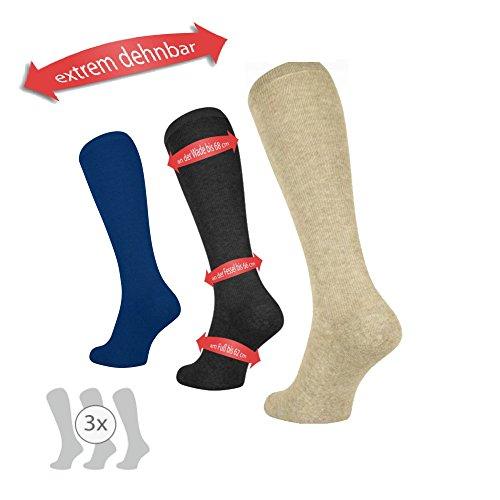 3 Paar Sparpackung MoserMed Weitschaft Kniestrümpfe bei geschwollenen Waden Ödem über Verband (XL = Schuhgröße 40-43, marine-blau)