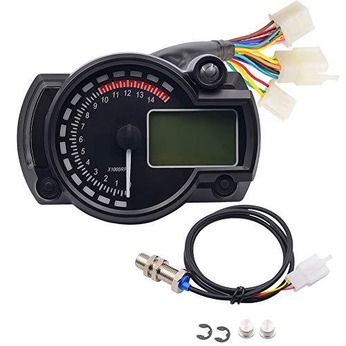 YUnnuopromi Motorrad Digital Tacho LCD Gauge Tachometer Kilometerzähler 12V Ölpegel Messer Schwarz