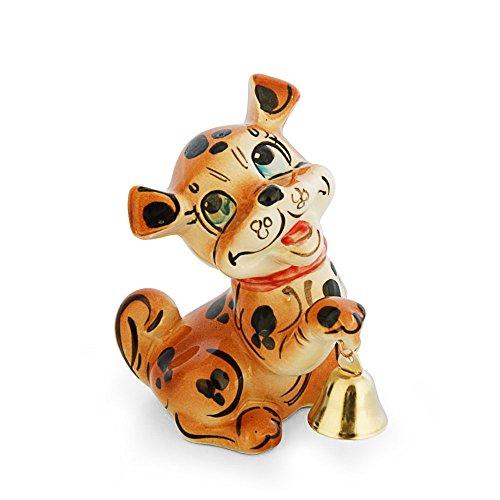 Porzellanfigur Hund Muchtar mit Glocke 12 cm Handgemalt braun Jahressymbol 2018