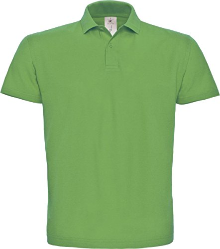 B & C ID. 001 Short Sleeve Polo Shirt Herren Casual Wear 2 Button Baumwolle Tee Top - Real Green