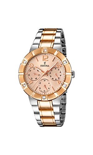 Festina Women's Quartz Watch with Rose Gold Dial Analogue Display and Multicolour Stainless Steel Plated Bracelet F16707/2