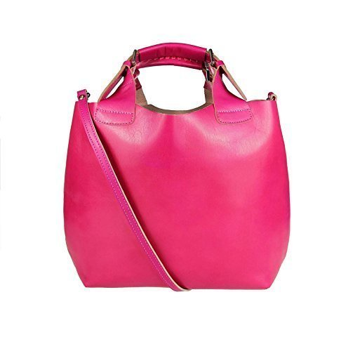 OBC Made in Italy 2 in 1 echt Leder Beuteltasche Shopper DIN-A4 Henkeltasche Tasche City Bag Schultertasche Umhängetasche Daisy16 35x30x15 cm (BxHxT) Pink