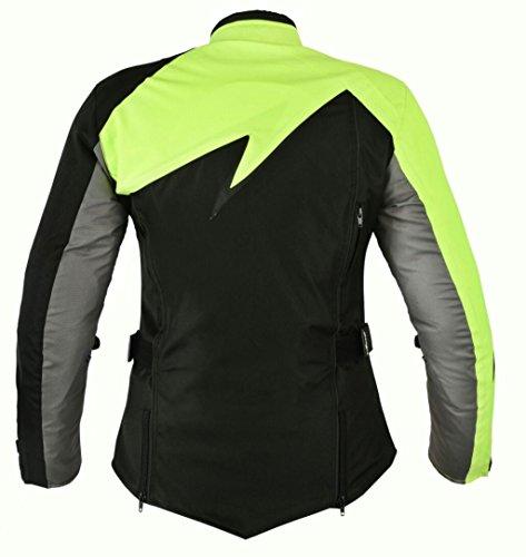 Modische Damen Motorradjacke Touren Jacke Bikerjacke Bangla B-11 Textil neon XXXL - 2
