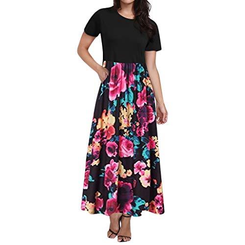 TPulling Mama Blumenkleid Bedrucktes Kleid  Sommer Kleid Knielang Trägerkleid Strandkleider Sommerkleider Pink Strappy Kleid