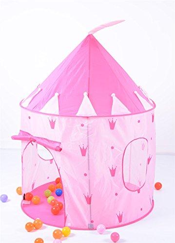 vinsani-pink-crown-design-childrens-castle-pop-up-playhouse-tent-roll-up-door-play-tent