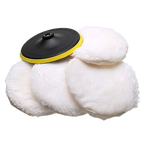 5Pieces 17,8cm poliert Soft Wolle Motorhaube mit Befestigung Rad Pad Polieren Werkzeug (Motorhaube Wolle)