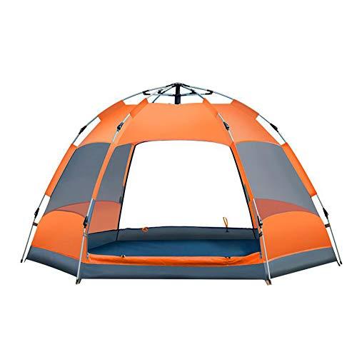 Camping Outdoor Zelte 3-4 Personen Zelt Im Freien Sechseckigen Camping Zelt Automatische Doppel Wasserdicht Und UV-beständig Polyester Zelt ++ (Farbe : Orange)
