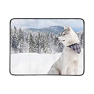 SHAOKAO Reinrassiger Husky-Schnee-Schal um Seine tragbare und Faltbare Kuschel-Matte