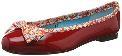 French Sole Henrietta Large Bow Patent Leather John D Liberty Print, Ballerine Donna, Rosso (Red), 38.5