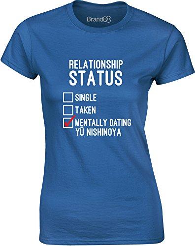 Brand88 - Mentally Dating Yu Nishinoya, Gedruckt Frauen T-Shirt Königsblau/Weiß/Rote