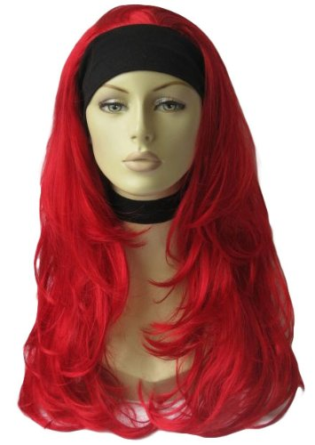 Bright Red, Curly 3/4 Or Half Head Wig Hairpiece Extension: Gabby 250g