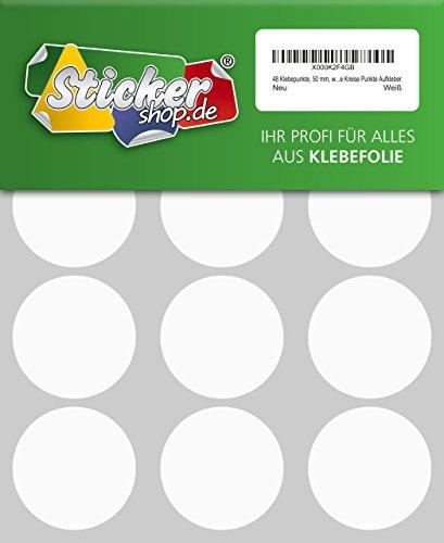 48adhesivos, 50mm, color blanco, funda de PVC, resistente a la intemperie, LabelOcean círculos puntos Pegatinas