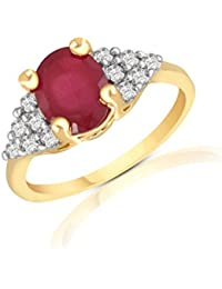 Ruby CZ Gold Plated Ring By Sapna FX-R-D733G