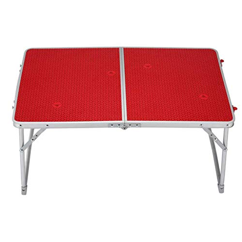 NJ Table Pliante- Table Se Pliante Rouge légère d'alliage d'aluminium extérieur, Table Se Pliante d'apprentissage à la Maison (Couleur : Red, Taille : 64x42x30cm)
