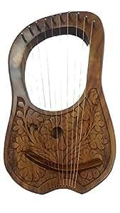 gravé Lyre harpe en palissandre 10cordes en métal + Housse de transport gratuite et principales