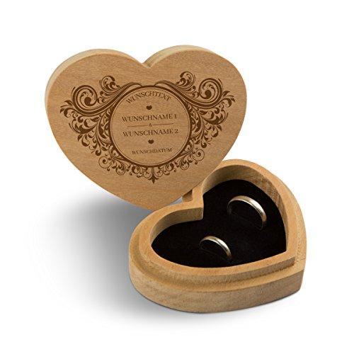 Hochzeit Ringbox Herz Ringkissen Ringschachtel individuell 10 x 8,5 cm Garapa Holz - Vintage