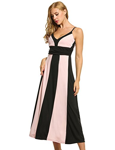 ZEARO Damen Sexy Ärmellos Sommerkleid Trägerkleid Maxikleid Partykleid Wickeloptik Streifen Schulterfrei V-Ausschnitt Rückenfrei Pink