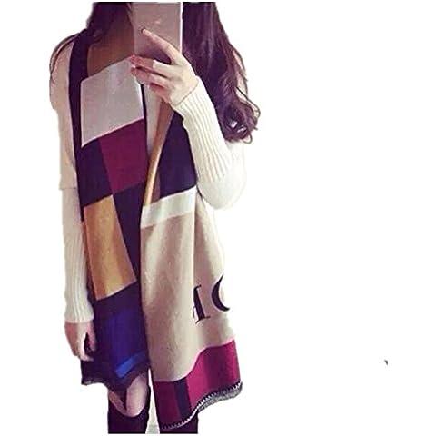 Borlas de Coreano las mujeres otoño y el invierno cálido impresión viajes verano protector solar elegante chal de Cachemira Plaid bufanda