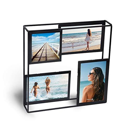Metradex Bilderrahmen Collage zum Aufstellen: Vier Bilder mit Glasscheibe auf Zwei Ebenen (27 cm x 27 cm)