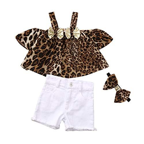Pwtchenty baby Mädchen 3 Stücks Freizeitkleidung Kinderbekleidung Bekleidungsset Leopard Shirt Tops + Shorts + Haarband Sommer Kleidung Outfits Set Spielanzug Kleider Set 0-3Jahre