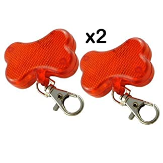 2 x BLINKING FLASHING DOG COLLAR LIGHT ATTACHMENTS - RED BONE SHAPED - CLIPS EASILY TO PETS COLLAR - GOOD FOR WALKERS… 4