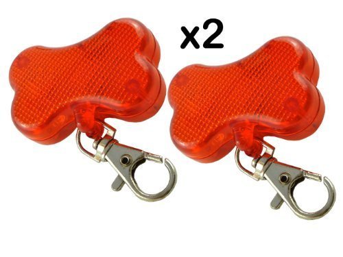 2 x BLINKING FLASHING DOG COLLAR LIGHT ATTACHMENTS - RED BONE SHAPED - CLIPS EASILY TO PETS COLLAR - GOOD FOR WALKERS TOO - BE SEEN FROM 1/2 MILE AWAY