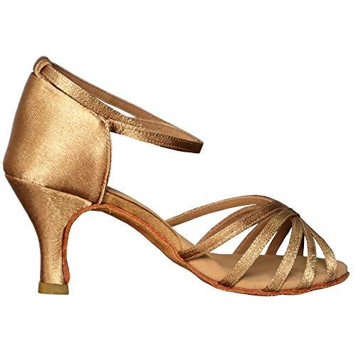VASHCAME-Zapatos de Baile Latino de Tacón Alto/Medio para Mujer Marrón 39 (Tacón-7cm)