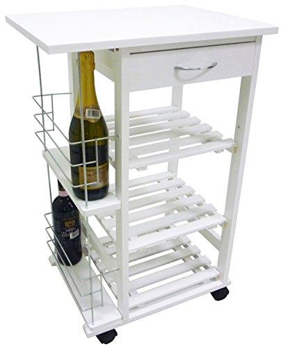 Carrello da cucina in legno bianco con porta bottiglie for Carrello portavivande amazon
