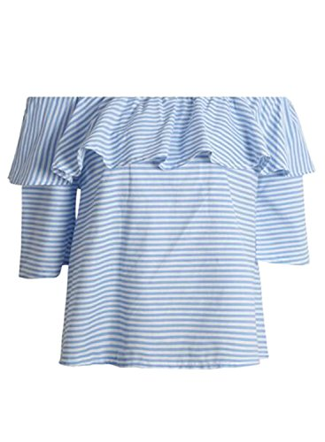 Azbro Women's Striped off Shoulder Ruffle Blouse Blue