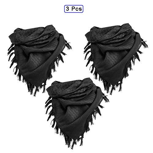 QWET Tactical Scarf 100% Baumwolle, Military Arab Tactical Desert Thickened Neckerchief Wrap für Damen und Herren,3xBlack