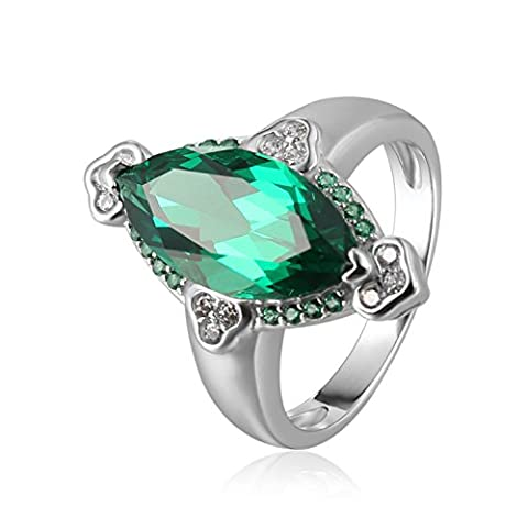 JewelryPalace 3.9ct Marquise Nano Russe Imitation Emeraude Bague en Argent 925
