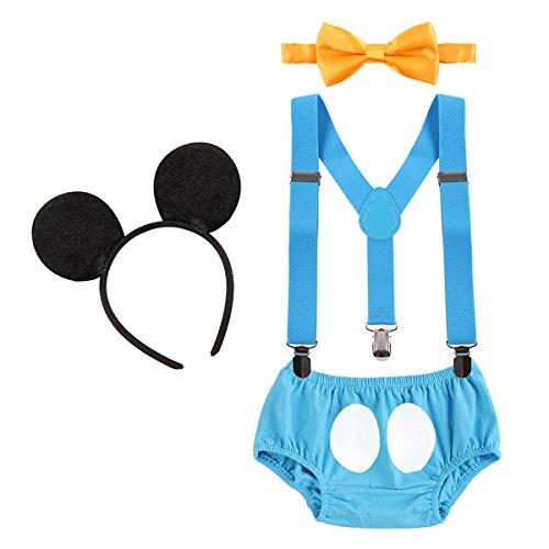 IWEMEK Baby Mickey Mouse 1. / 2./ 3. Geburtstag Halloween Kostüm Outfit Unterhose + Fliege + Y-Form Hosenträger + Maus Ohren 4pcs Bekleidungssets Fotoshooting Kostüm für Unisex Jungen Mädchen (Für Halloween-kostüme Teenager-mädchen 3)