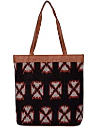 Kalamargam Collective Handwoven Ikat & Vegan Leather Tote Bag (Multi-Coloured, KC-TB43)