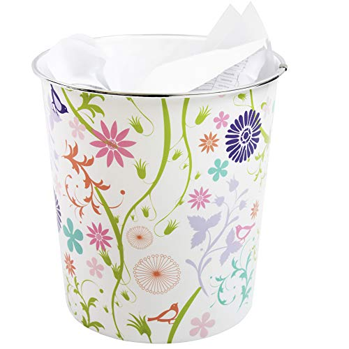 JVL Plastic Modern Stripes/Spots/Circles Retro Flower Trailing Flower Waste Paper Bin Basket, Multi-Colour by JVL
