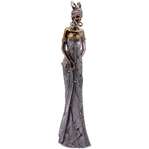 Supernova Decoracion_ African Figure Resin Finished Silver / Gold Measures _10x7x40 Cm