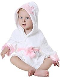 DINGANG® Bebé Albornoz con capucha | Super suave y absorbente algodón bebé albornoz con Cute con capucha, perfecto para bebé 0a 2años, color blanco
