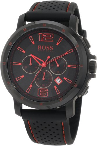 Hugo Boss 1512597 47mm Stainless Steel Case Black Leather Mineral Men's Watch