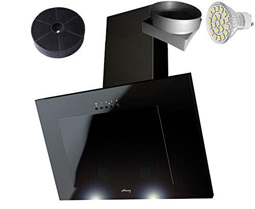 HAAG Vertikal C Schwarz + Glas + LED, Kohlefilter GRATIS! 60 cm Dunstabzugshaube, Kopffrei, Umluft/Abluft