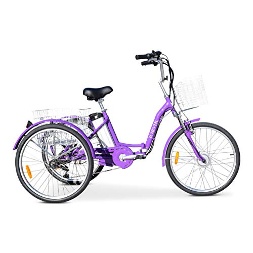 Jorvik 24 Electric Aluminium Folding Tricycle TRAVEL Trike 250W 36V (Purple) (Falten Dreirad Erwachsenen)