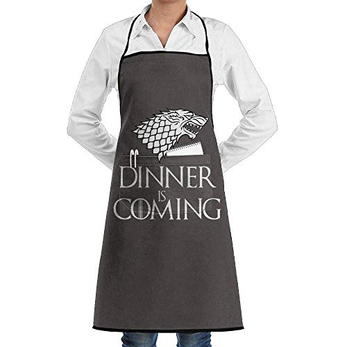 SDGSS with Pocket Apron,Dinner is Coming Printed Adjustable Bib Apron with Pocket Kitchen Chef Aprons for Unisex