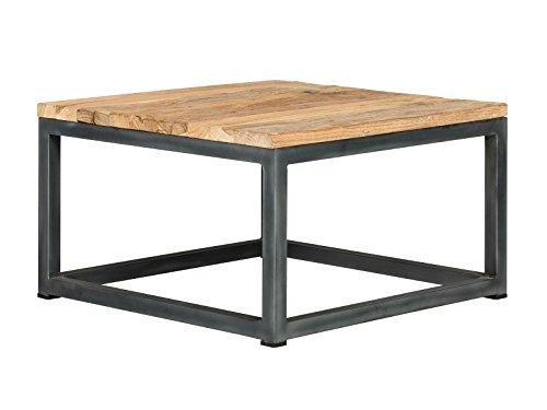 massivum Couch-Tisch Manchu 60x35x60 cm aus Teak-Holz massiv  geölt und Metall-gestell schwarz lackiert