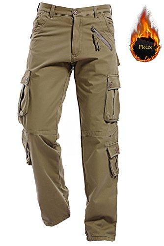 Price comparison product image AIZESI Men Winter Polar Fleece Lining Warm Trousers Thicken Cargo Camo Work Pants
