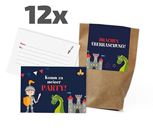 karten/Partytüten Set zum Kindergeburtstag / Mitgebseltüten / Geschenktüten / Give-aways / Drachen / Prinz / Burg / Geburtstagseinladungen / Einladungen / Kinder / Jungen / Mädchen ()