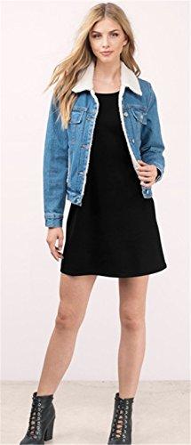 Moda Senza Maniche Mini Corte Corta Canotte Vest Shift Boxy dritto da spiaggia Dress Vestito Abito Nero