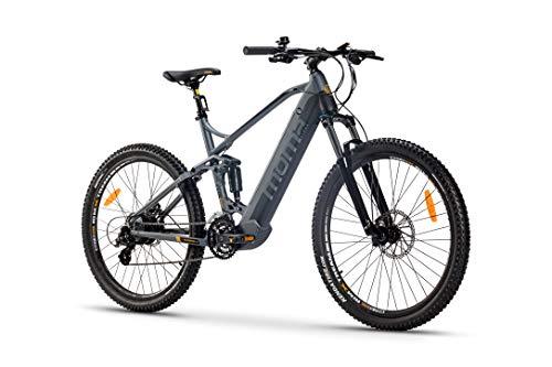 Moma Bikes Bicicleta Eléctrica E-MTB 27.5 Full Suspension, Shimano 24vel, frenos hidráulicos, batería Litio 48V 13Ah (624Wh)