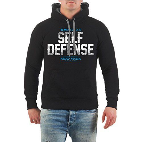 Männer und Herren Kapuzenpullover Krav Maga Self Defense (mit Rückendruck) Größe S - 8XL schwarz/graue Kapuze