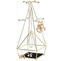 Simmer Stone Jewelry Stand, 3 Tier Jewelry Tower Organizer with Ring Tray, Decorative Jewelry Holder Display Rack for Necklaces, Earrings, Bracelets and Watches
